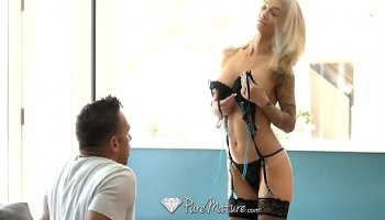 pov blowjob with hot stepmom sucking some hard dick deep
